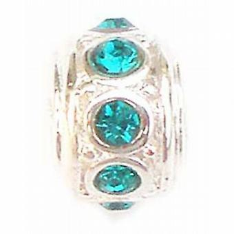 The Olivia Collection Beadz Blue/Green Crystal Slide-on Bead