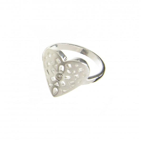 Cavendish French Sterling Silver Filigree Heart Ring With Central CZ Stone