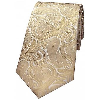 Cravatta di seta Paisley lusso di David Van Hagen - Beige