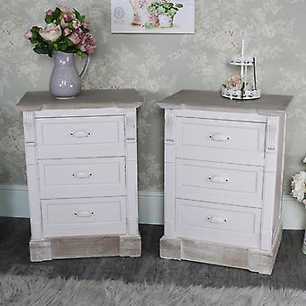 Pair of Cream Three Drawer Bedside Tables - Lyon Range