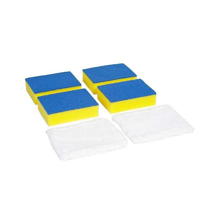 Long Reach Bathroom Cleaner Set Refill Pack | 6 heads 4xSponge, 2 x Micro-fibre