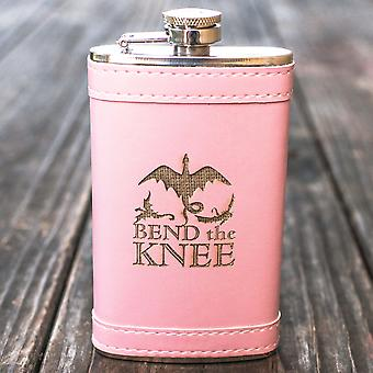 6oz pink bend the knee leather flask l1