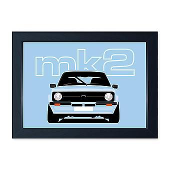 Sky Blue Mk2 Escort, Quality Framed Classic Car Print - Kitchen Bathroom Man Cave Art