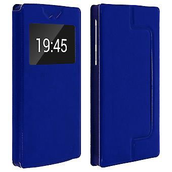 Smartphone Case 6'' Card Holder Window Video stand,slide Blue