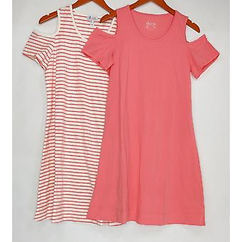 Denim & Co. Dress Set of 2 Stripe & Solid Cold Shoulder Pink A307622