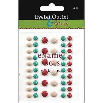Eyelet Outlet Adhesive-Back Enamel Dots 52/Pkg-Tan/Green/Red EN52-E12B