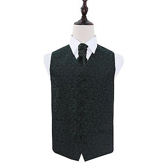 Black & Green Swirl Patterned Wedding Waistcoat & Cravat Set
