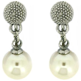 Clip On Earrings Store Silver Plated Disco Ball and Pearl Drop Clip On Earrings