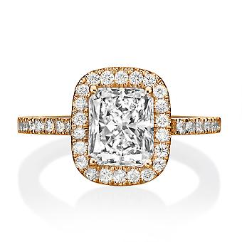 1.5 Carat E SI2 Diamond Engagement Ring 14K Rose Gold Halo Vintage Micro Pave