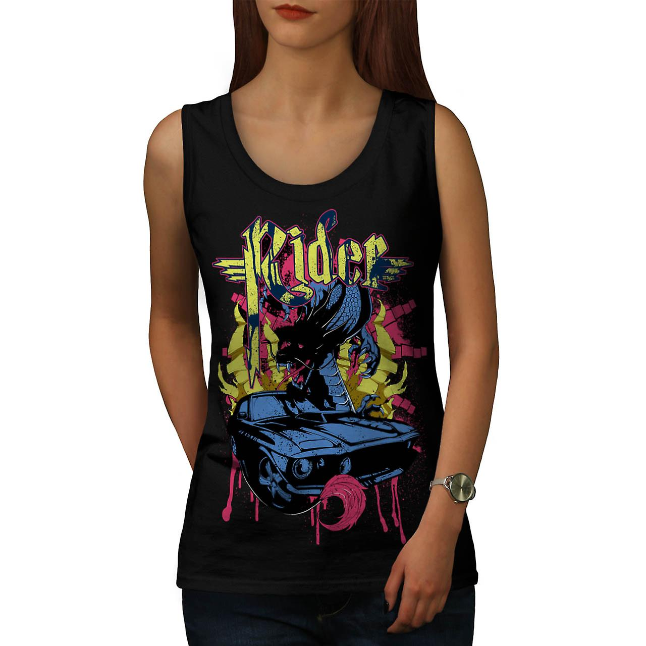 Dragon Motor Car Ride Automobile Women Black Tank Top | Wellcoda