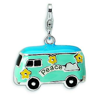 Sterling Silver Rhodium-plated Fancy Lobster Closure 3-D Enameled Peace Bus With Lobster Clasp Charm - Measures 25x21mm