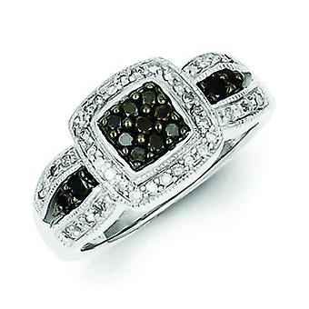 Sterling Silver Black Diamond Square Ring - Ring størrelse: 6 til 8