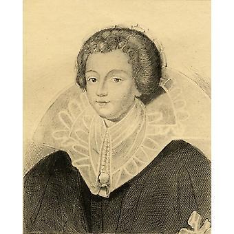 Catherine-Henriette Dentragues (De Balsac) 1579-1633 elskerinnen til Henry Iv Foto-etsing fra en gammel stående fra boken Lady JacksonS Works X første av Bourbon Ii publisert London 1899 Pos