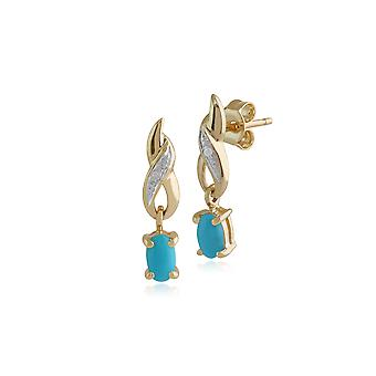 Gemondo 9ct Yellow Gold 0.44ct Turquoise & Diamond Classic Drop Earrings