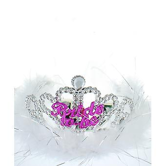 Hen Night Flashing Bride To Be Fur Trim Tiara With Veil Hen Party Accessory