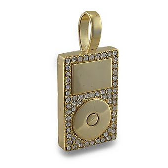 Goldtone Strass verkrustete MP3 Player Anhänger