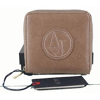 AJ Armani Jeans damer ljus brunt äkta läder plånbok väska 8 kort myntficka