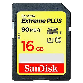 SanDisk Extreme PLUS 16GB SDHC UHS-I U3 Class 10 Memory Card  R=90MB/s  W=60MB/s