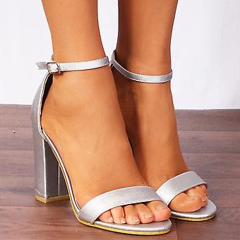 Shoe Closet Silver Strappy Heels - Ladies Silver Db57 Silver Metallic Pu Peep Toes Strappy Sandals High Heels