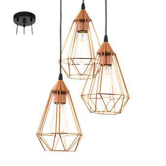 Eglo Tarbes Vintage Geometric Grouped Copper Pendant