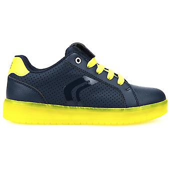 Geox Boys Kommodor J745PB LED rechargeable lights Trainers Navy Lime