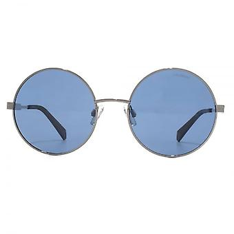 Polaroid Modern Metal Round Sunglasses In Gold Blue Polarised