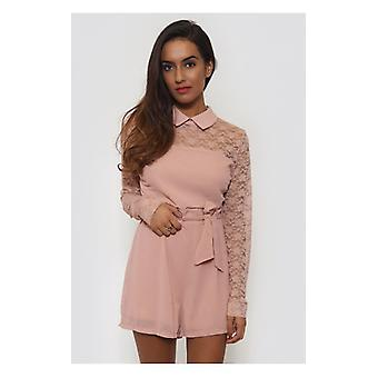 The Fashion Bible Nude Lace Playsuit