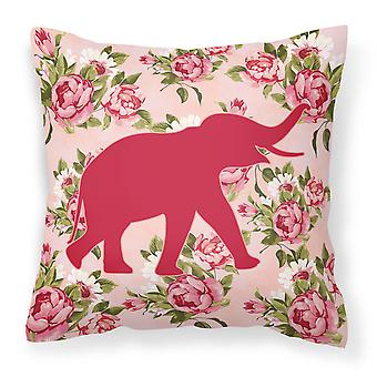 Elephant Shabby Chic Pink Roses  Fabric Decorative Pillow