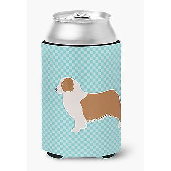 Australian Shepherd Dog Checkerboard Blue Can or Bottle Hugger
