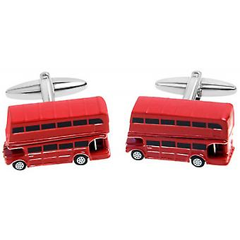 Zennor London Bus Cufflinks - Red/Black/White