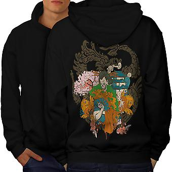 Fantasy-japanische Schädel Männer BlackHoodie Rücken | Wellcoda
