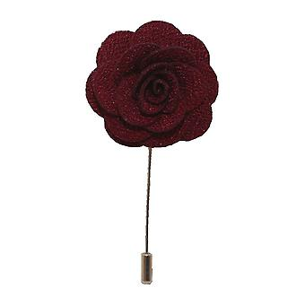 Burgundy handgjord blomma/Rose Lapel Pin för att bära med mäns kavaj, blazer, middag jacka eller smoking jacka