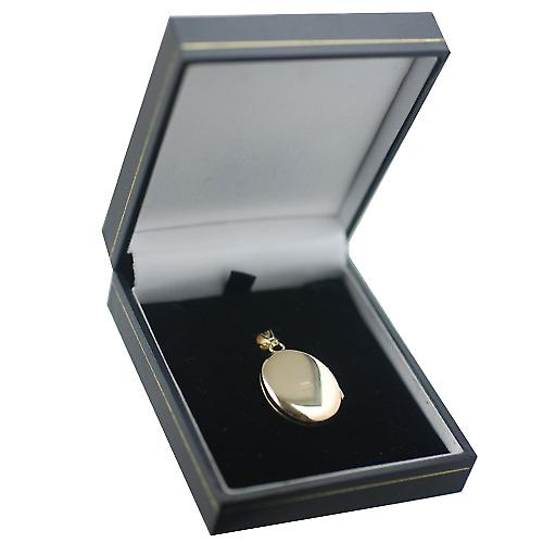 9ct Gold 27x20mm diamond set and hand engraved oval Locket