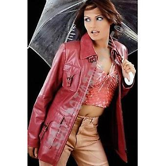 Ladies Valentina Pink Leather Coat