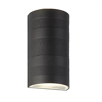 Black Outdoor Curved LED Wall Light - Searchlight 7941BK