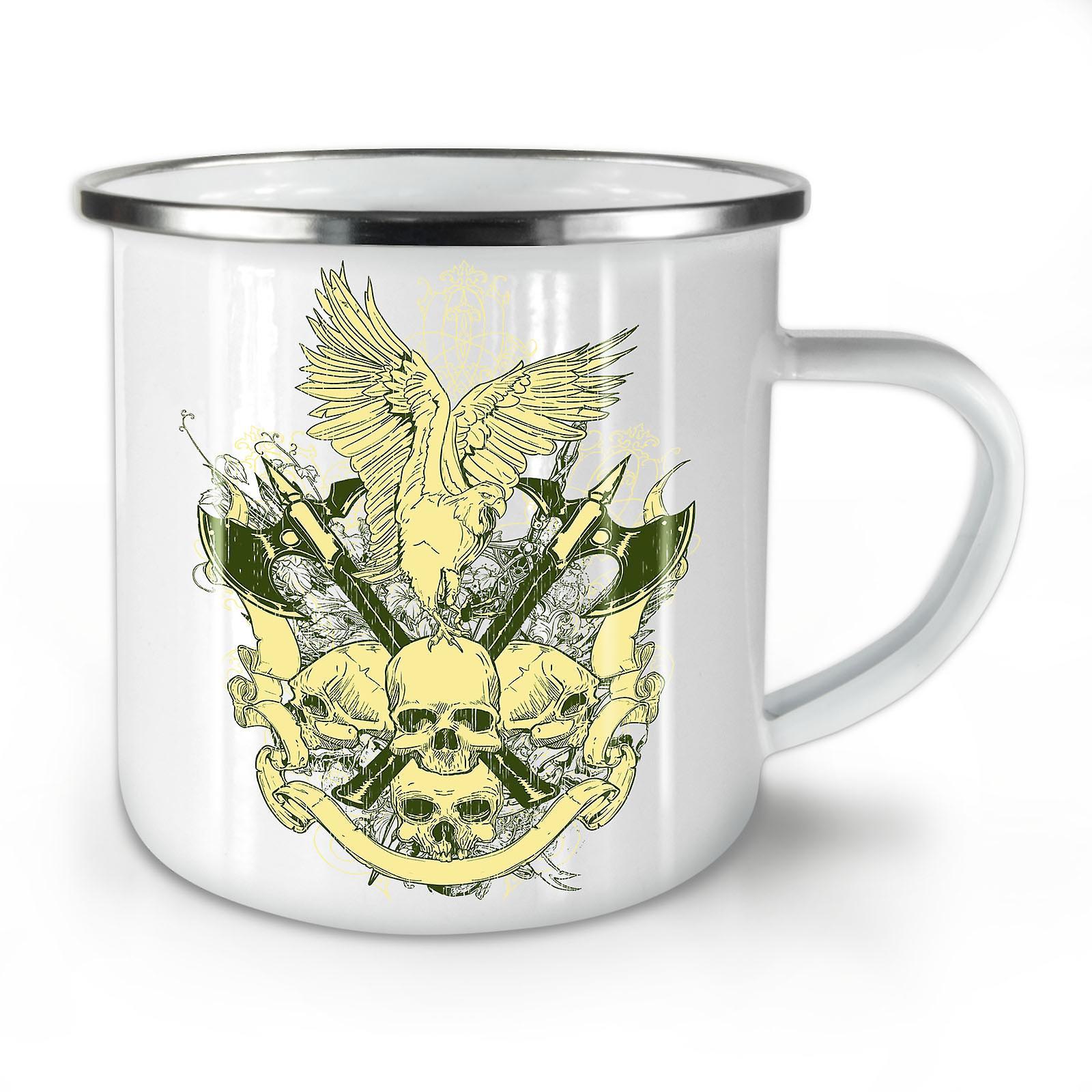 Whitetea Arme Émail Mug10 Eagle War OzWellcoda Nouveau Café Crâne vwONm08n
