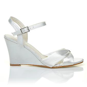 ANGEL White Satin Wedge High Heel Strappy Bridal Shoes