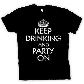 Hombres camiseta - mantener beber y partido en - gracioso