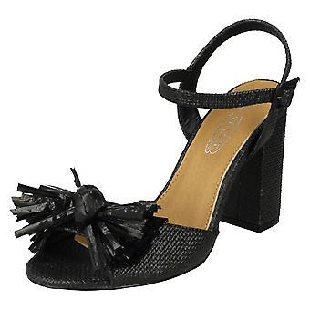 Damer plats på Chunky klack Frans Bow Vamp sandaler F10842 - svart syntet - UK storlek 3 - EU storlek 36 - US storlek 5