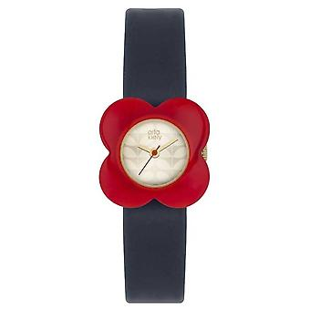 Orla Kiely Womans rouge pavot affaire cuir marine sangle OK2062 Watch