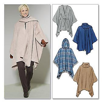 Misses' Ponchos and Belt-Y (XSM-SML-MED) -*SEWING PATTERN*