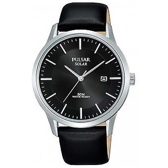 Pulsar Mens Stainless Steel Case Black Solar Dial Leather Strap PX3163X1 Watch