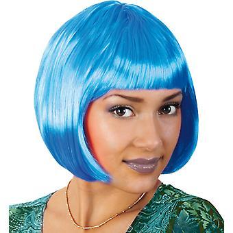 Lola neon blue Bob wig short hair pony