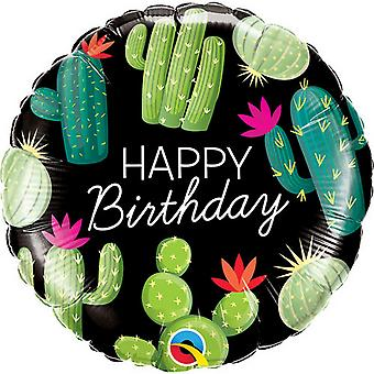 Qualatex 18in Birthday Cactuses Round Foil Balloon