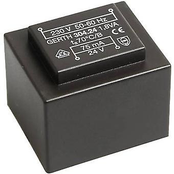 PCB mount transformer 1 x 230 V 2 x 12 V AC 1.80 VA 75 mA PT302402 Gerth