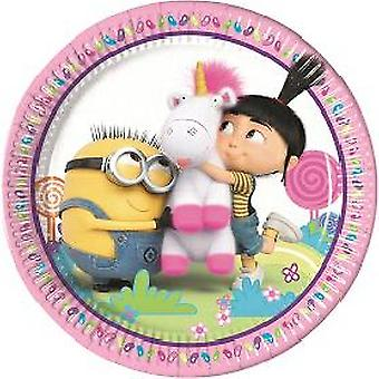 Fluffy minions party plate of fluffy minions Unicorn party Ø 23 cm birthday 8 pieces