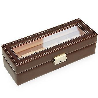 Uhrenkoffer Uhrenbox Uhrenkasten Sacher Lederimitat mokka Veloursamt beige für 6 Uhren