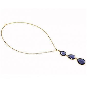 قلادة-المعلقات-الفضة-الذهب مطلي قطرات-يلت الكوارتز--الأزرق--9 سم