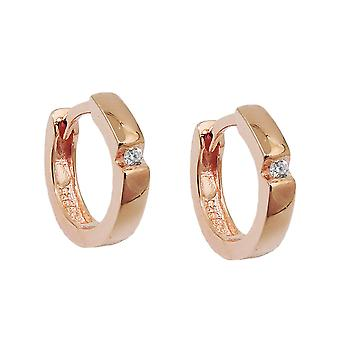 Creole 12x2mm flap hinge cubic zirconia red gold plated Silver 925
