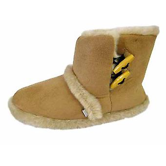 Coolers Womens Microsuede Toggle-Fastening Boot Slippers